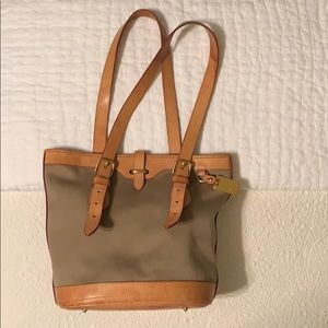 Dooney & Bourke Tan Fabric and Leather Bag